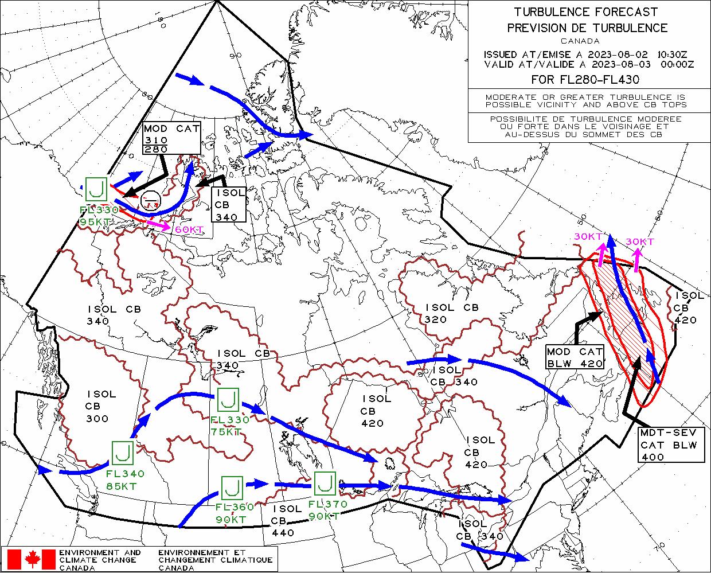 Canada Turbulence Map Canadian Turbulence Forecast