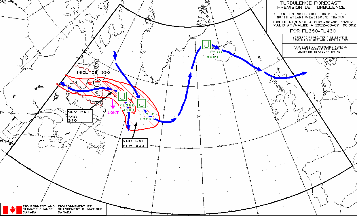 Turbulence Forecast North Atlantic Eastbound Tracks - Turbulence maps